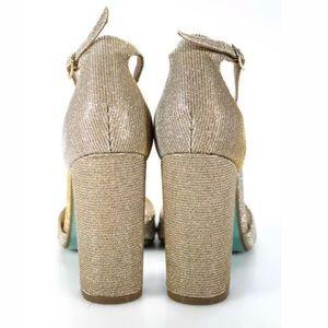 Betsey Johnson Shoes - BETSEY JOHNSON GOLD OPEN TOE HEELS SIZE 8